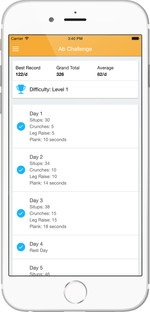 30 Day Ab Challenge App Dashboard